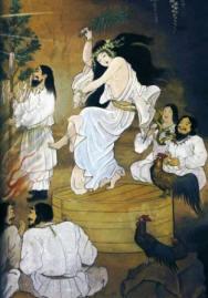 représentation d'Uzume dansant devant la caverne